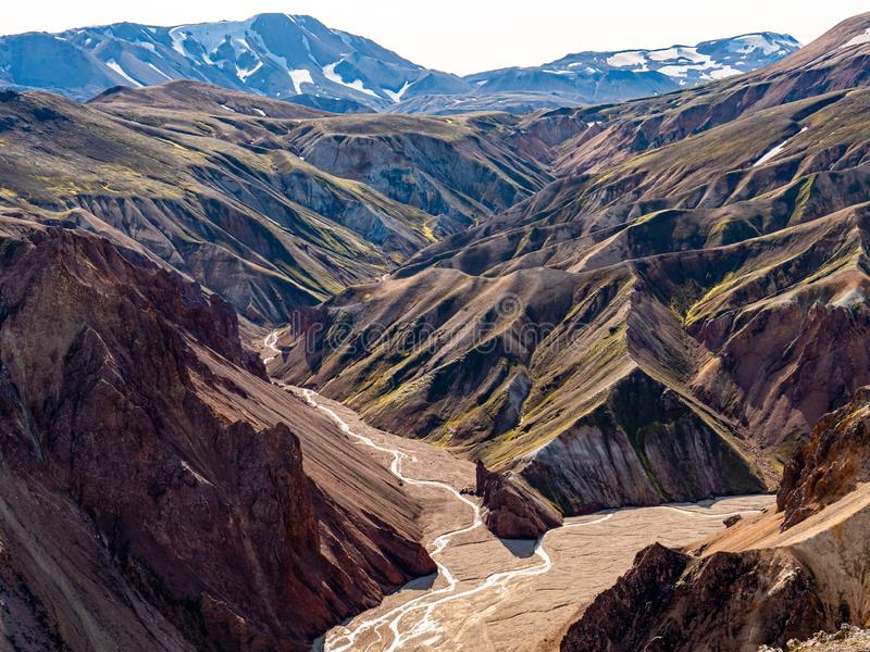 Landmannalaugar National Park - Iceland. Rainbow Mountains. Aerial view of beautiful colorful volcanic mountains. Top view. Landmannalaugar National Park in stock images