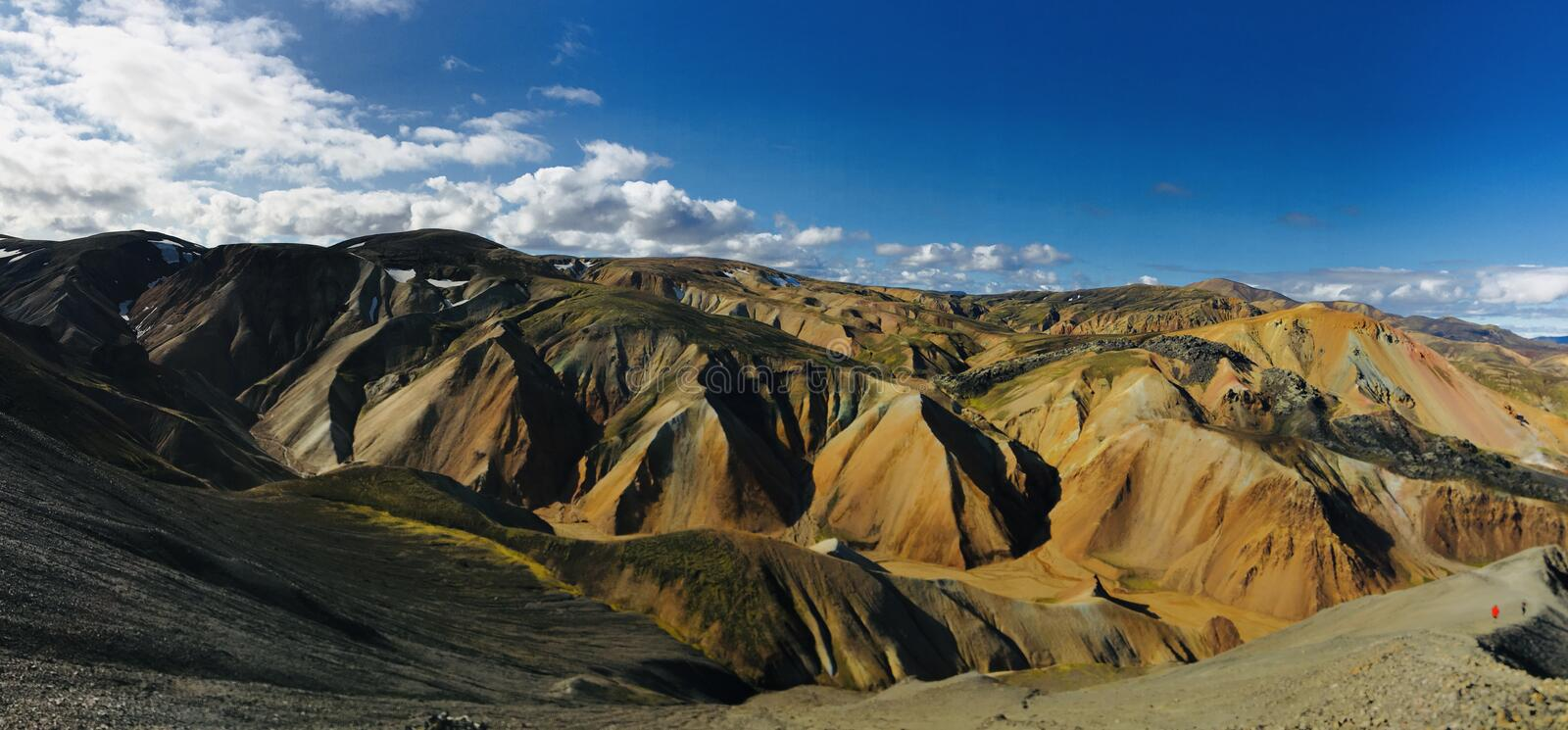 Landmannalaugar rainbow mountains in Iceland. View from Blahnúkur to the most beautiful places in the world - Rainbow mountains royalty free stock photography