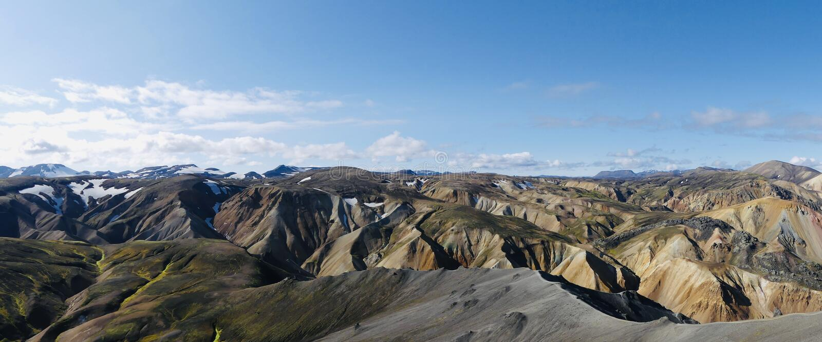 Landmannalaugar rainbow mountains in Iceland. View from Blahnúkur to the most beautiful places in the world - Rainbow mountains royalty free stock photos