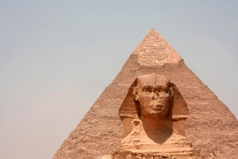 Landmark. Sphinx and Pyramid in Egypt stock photography