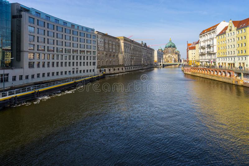Landmark of Berlin, Historic Berlin Cathedral Berliner Dom nea. R the river, Germany, Europe royalty free stock photos