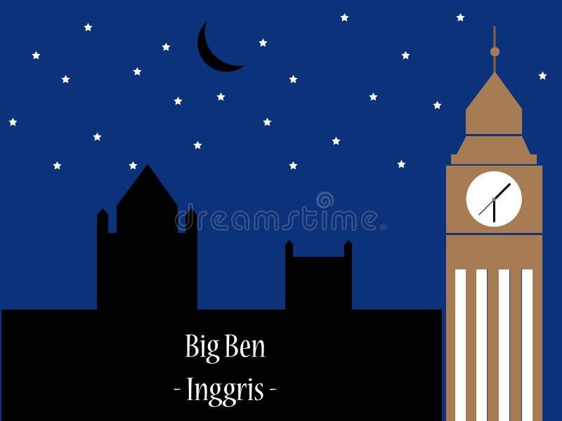 Landmark Big ben in England stock illustration