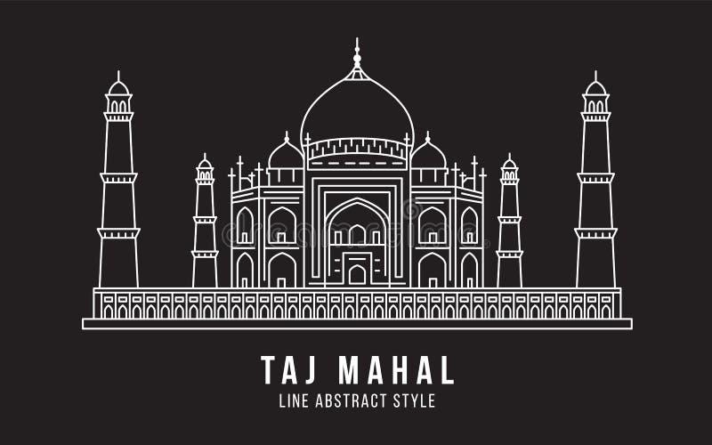 Landmark Building Line art Vector Illustration design - Taj Mahal india vector illustration