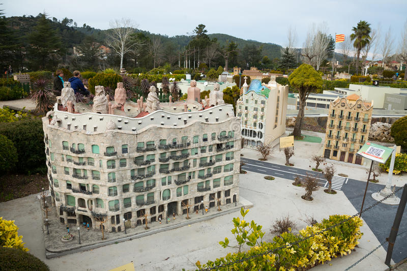 Landmark buildings displayed in scale model replica of Catalonia. BARCELONA, SPAIN - JANUARY 31, 2016: Sunny view at building models exhibitions in miniature royalty free stock photos