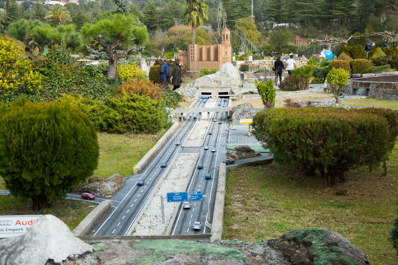 Landmark buildings displayed in scale model replica of Catalonia. BARCELONA, SPAIN - JANUARY 31, 2016: Sunny view at building models exhibitions in miniature stock image