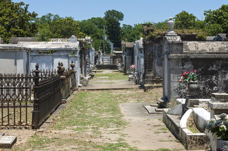 Landmark Cemetery Mausoleums in New Orleans. Historic cemetery with mausoleums and tombs above ground to honor the deceased in new orleans stock photo
