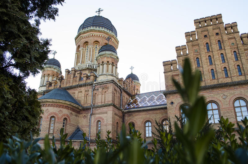 Landmark in Chernivtsi, Ukraine, orthodox church at University the former Metropolitans residence. ! royalty free stock image
