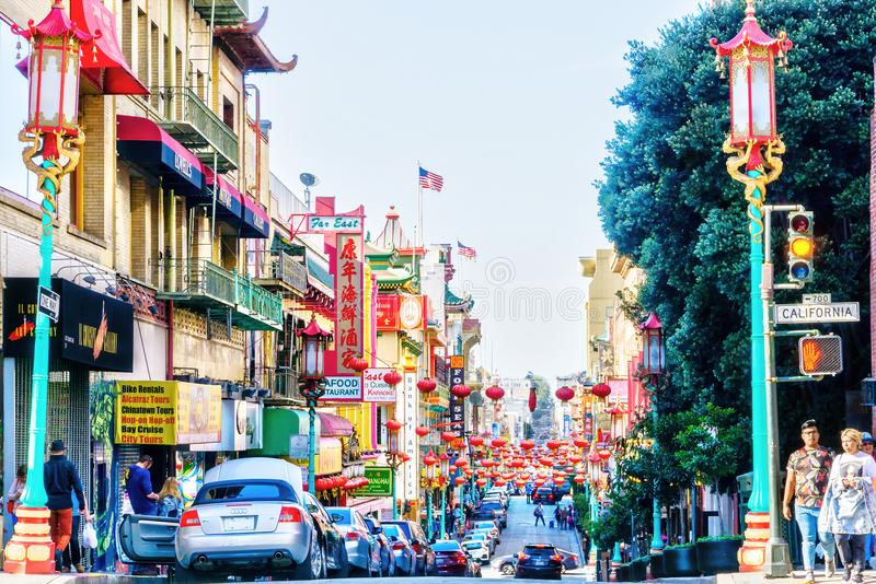 Landmark Chinatown on Grant Avenue in San Francisco royalty free stock images