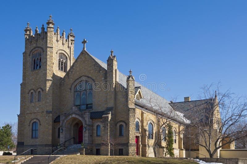Landmark  Church Entrance Bell Tower and Nave Exterior stock photos