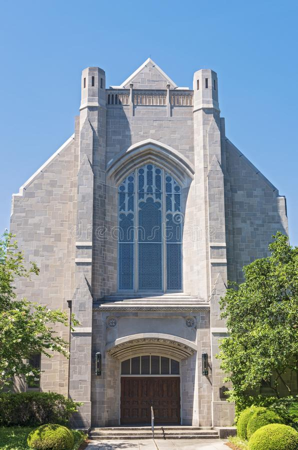 Landmark Church Front Entrance and Facade in New Orleans. Louisiana royalty free stock image
