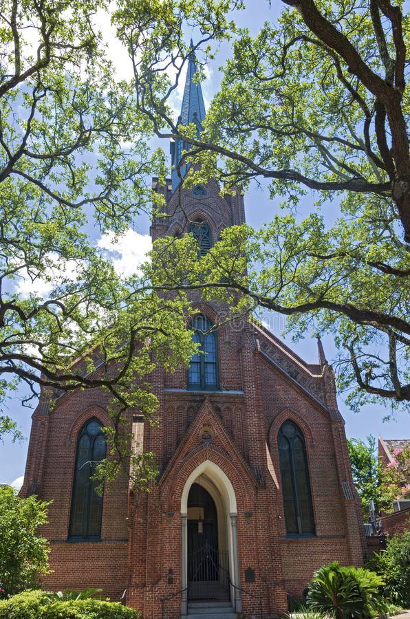 Landmark Church Front and Steeple in New Orleans. Landmark church front and steeple of gothic revival architecture in new orleans louisiana royalty free stock photos