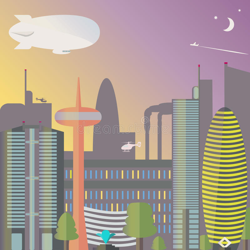 Landmark. The city night with the moon and stars. Skyscrapers and TV tower with fountain. Vector illustration stock illustration