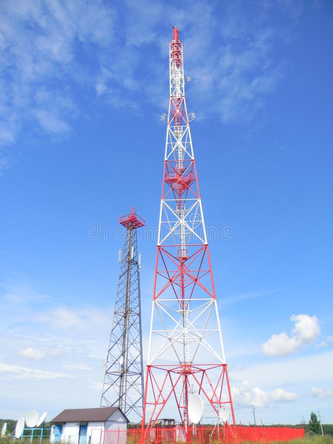 The old TV tower passes the baton to the new one.... stock images