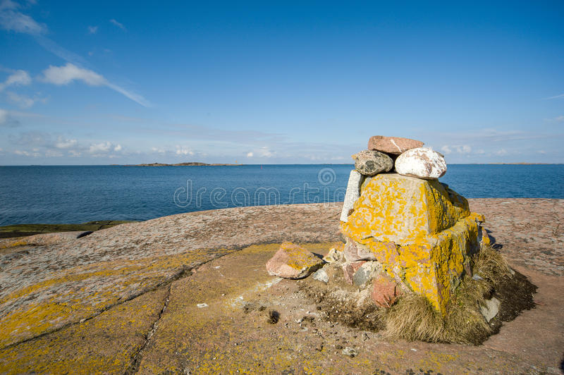 Landmark at Hanko, Finland. The southest point in Finland, at the mainland stock photo