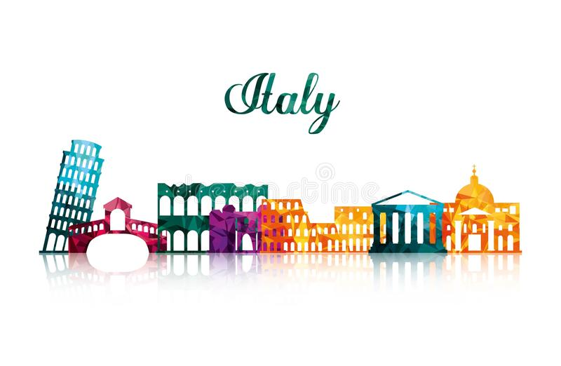 Landmark icon. Italy culture design. Vector graphic. Italy culture concept represented by icon set of landmarks. Isolated and flat illustration stock illustration
