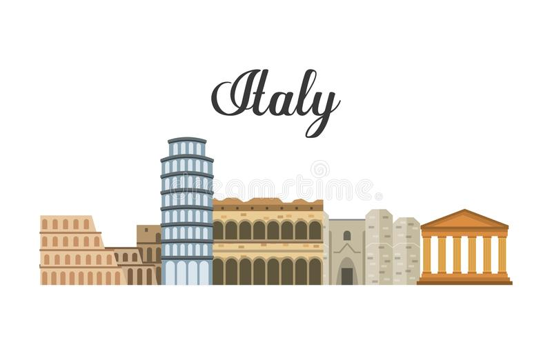 Landmark icon. Italy culture design. Vector graphic. Italy culture concept represented by icon set of landmarks. Isolated and flat illustration royalty free illustration