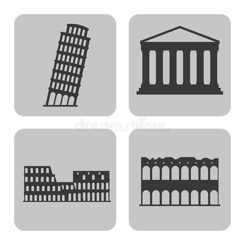 Landmark icon. Italy culture design. Vector graphic. Italy culture concept represented by icon set of landmarks. Isolated and frames illustration stock illustration