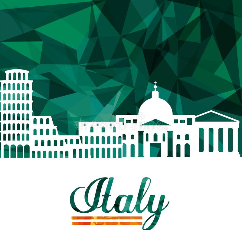 Landmark icon. Italy culture design. Vector graphic. Italy culture concept represented by icon set of landmarks. Isolated and Polygonal illustration royalty free illustration