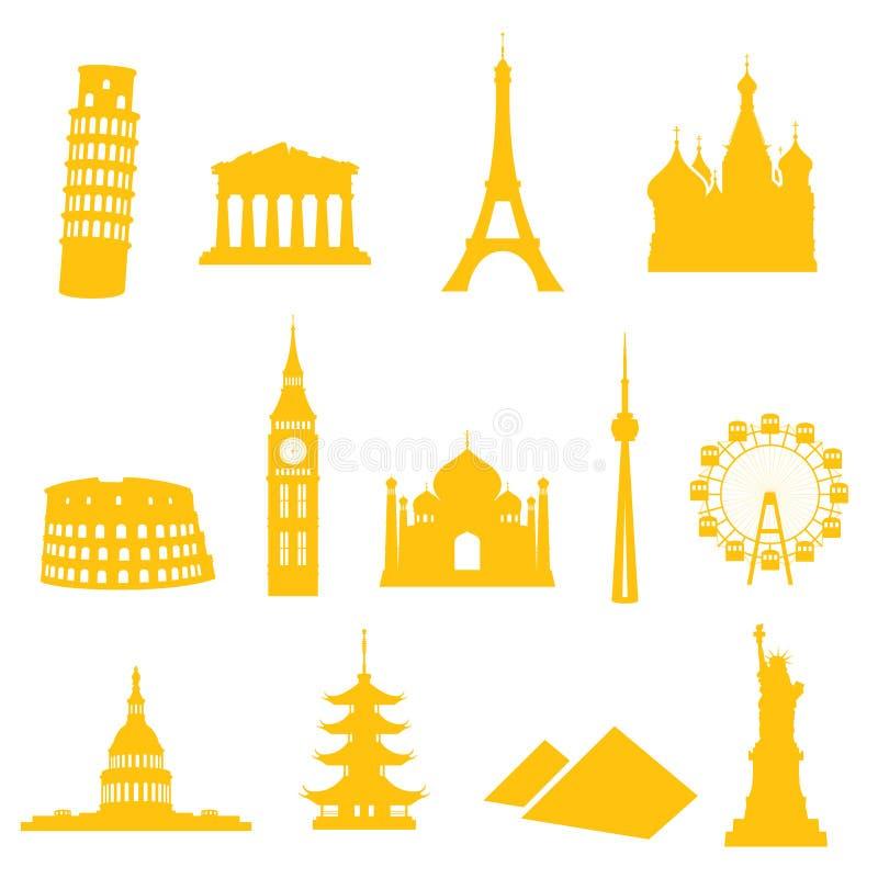 Landmark Icons. 13 gradient free landmark icons - easy to change colour vector illustration