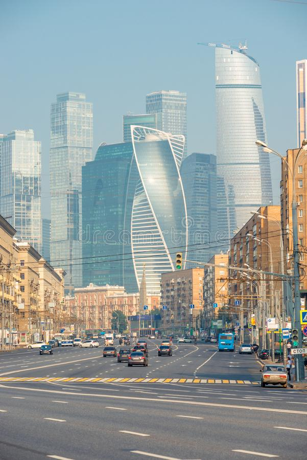 Landmark Moscow-Moscow City and city streets royalty free stock image