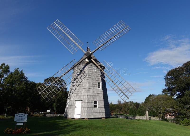 Landmark Old Hook windmolen in East Hampton op Long Island stock fotografie