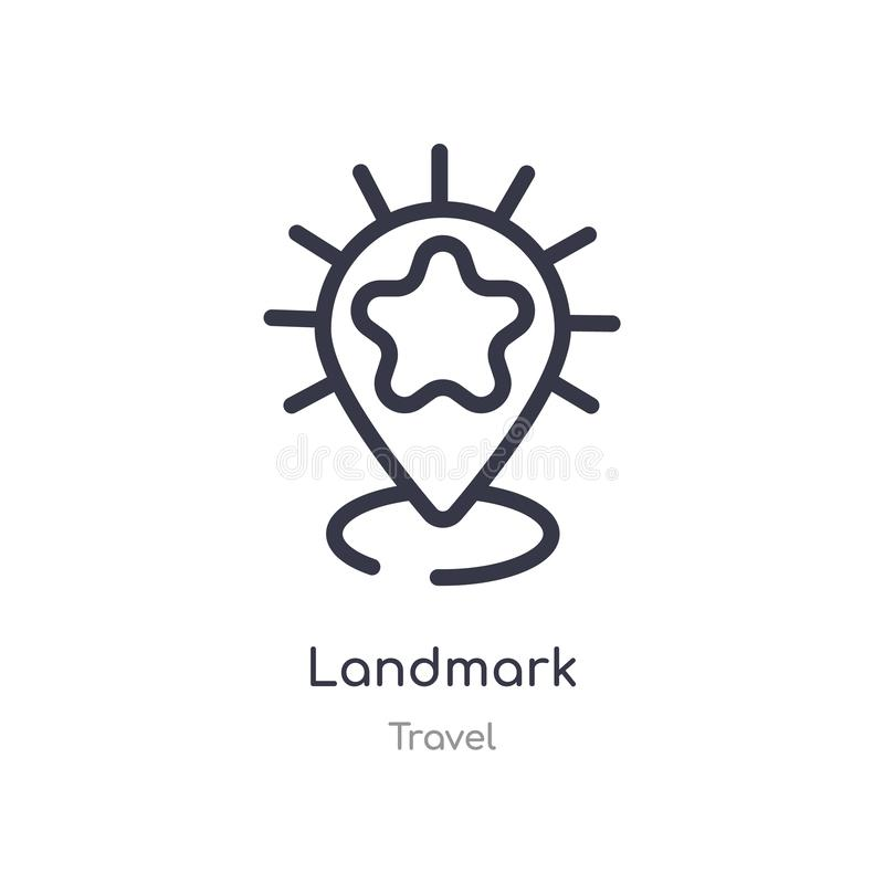 Landmark outline icon. isolated line vector illustration from travel collection. editable thin stroke landmark icon on white. Background vector illustration
