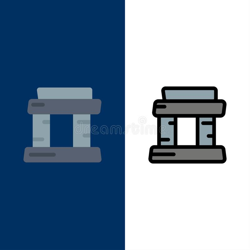 Landmark, Paris, Tower  Icons. Flat and Line Filled Icon Set Vector Blue Background vector illustration