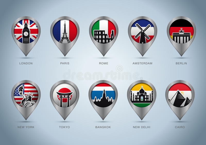 Landmark Pins Of The World Stock Image