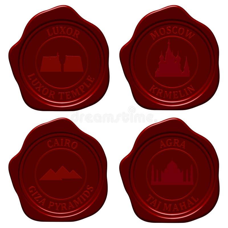 Download Landmark Sealing Wax Stamp Set Stock Illustration - Image: 25143664
