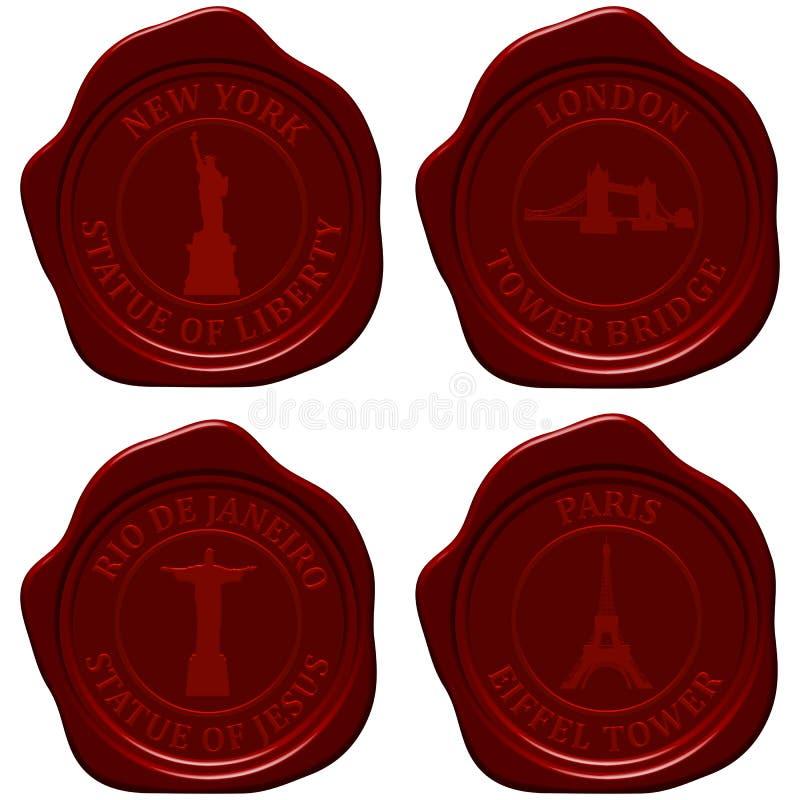 Download Landmark Sealing Wax Stamp Set Stock Illustration - Illustration: 25143667