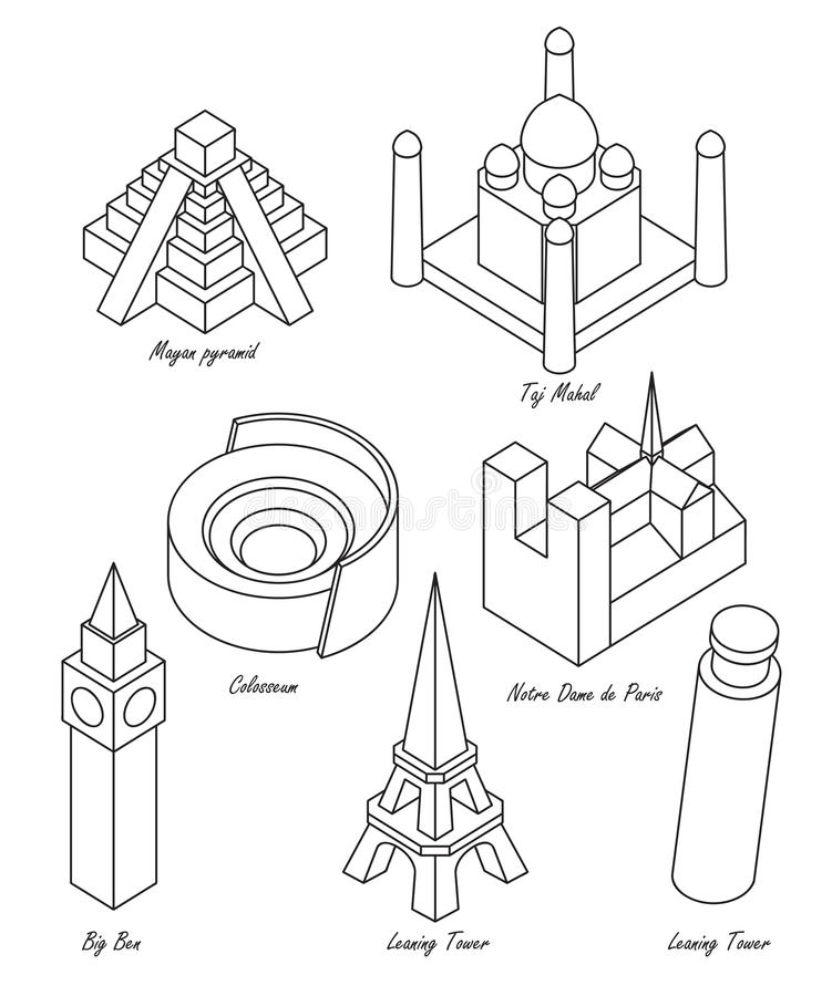 Landmark set stock vector. Illustration of drawing, maya - 54733251