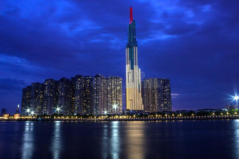 Landmark 81 Tower, The Highest Skyscraper in Saigon in The Evening. Landmark 81 is a super-tall skyscraper in Ho Chi Minh City Saigon, Vietnam, that was designed royalty free stock photo