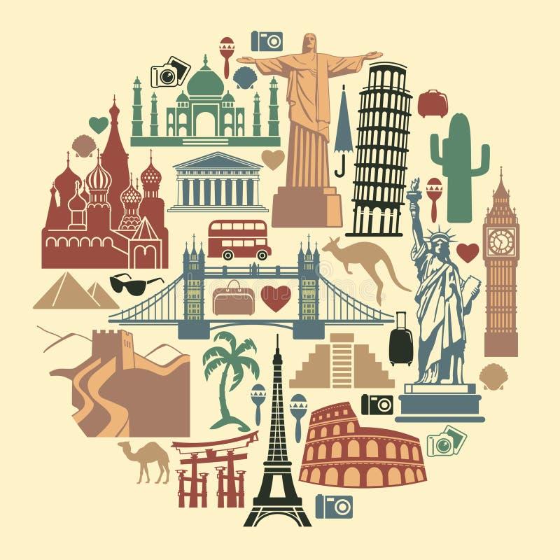 Landmark travel icons royalty free illustration