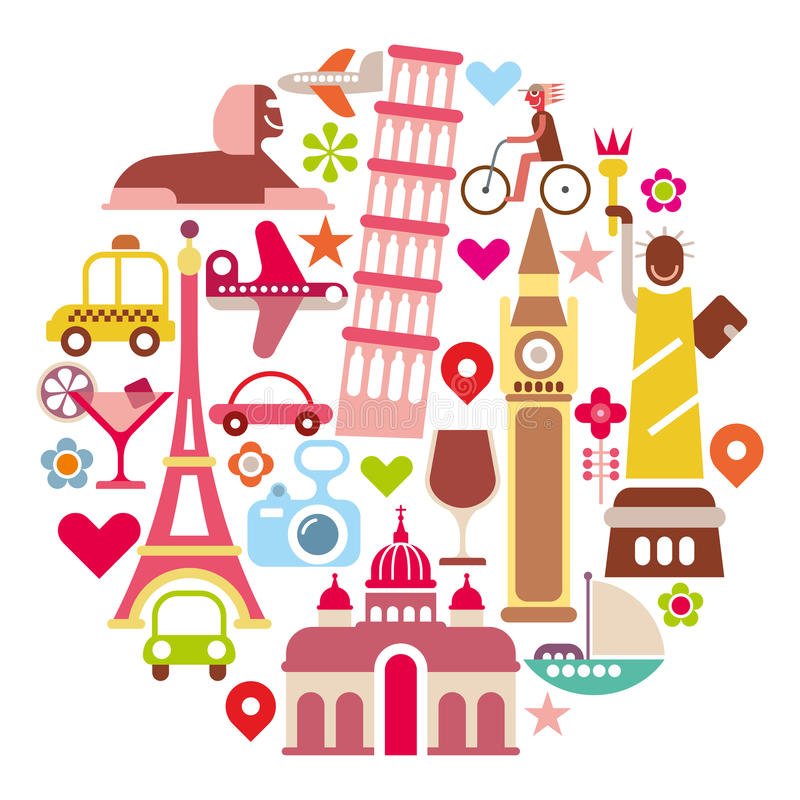 Landmark Travel - round vector illustration royalty free illustration