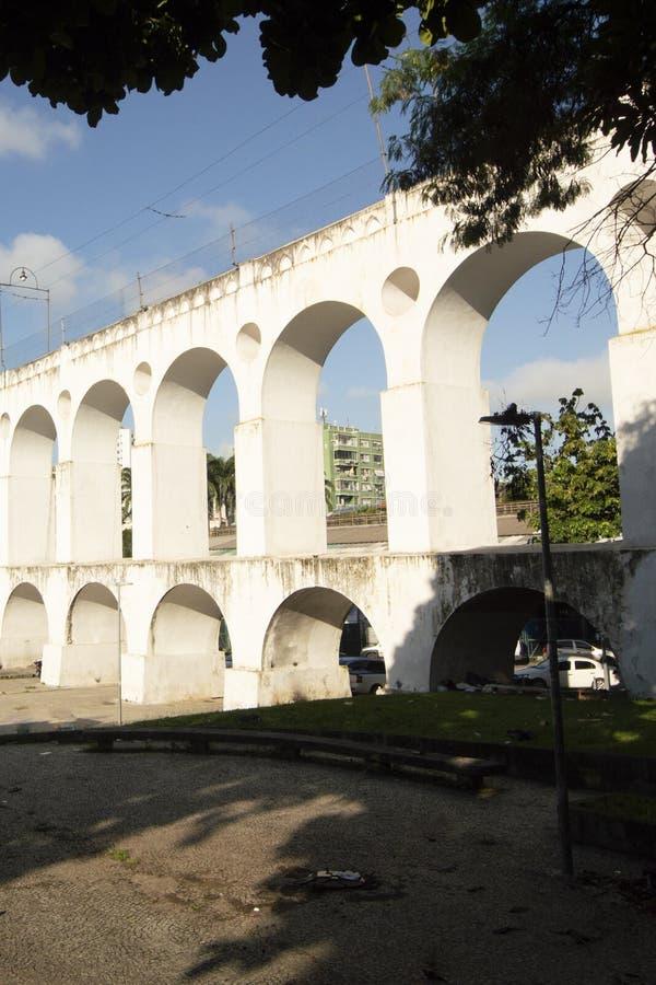 Landmark white arches of Arcos da Lapa in Centro of Rio de Janeiro Brazil. South travel architecture outdoors day city horizontal famous santa latin stock image