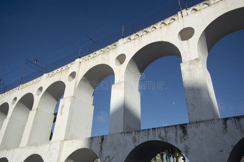 Landmark white arches of Arcos da Lapa in Centro of Rio de Janeiro Brazil. South travel architecture outdoors day city horizontal famous santa latin stock photos