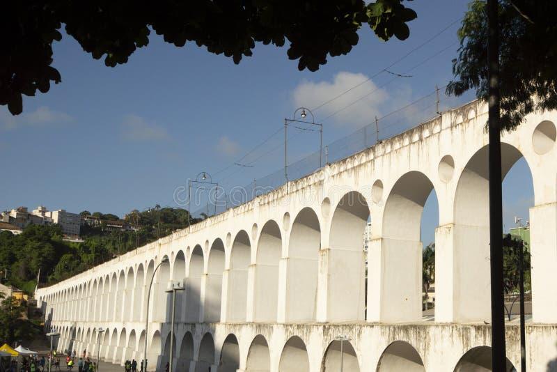 Landmark white arches of Arcos da Lapa in Centro of Rio de Janeiro Brazil. South travel architecture outdoors day city horizontal famous santa latin royalty free stock photography
