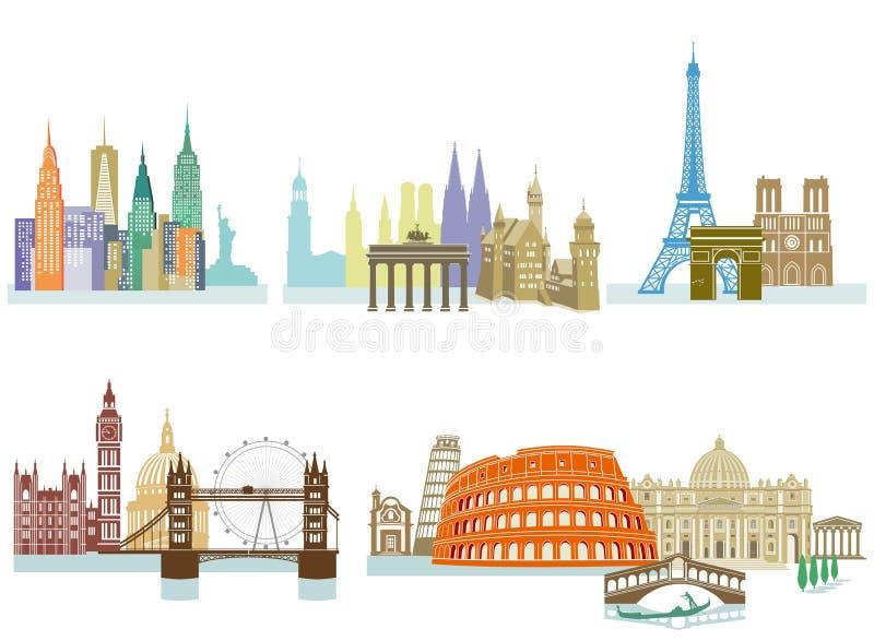Landmarks Around The World royalty free illustration