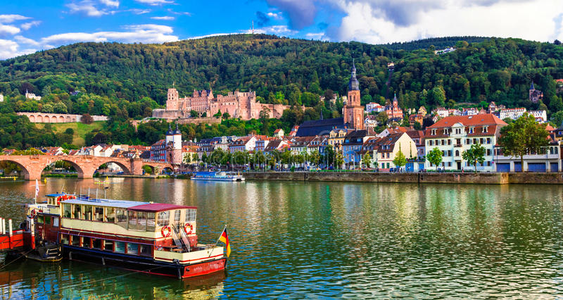 Landmarks and beautiful places of Germany - medieval Heidelberg. Beautiful medieval Heidelberg town,Germany royalty free stock photography