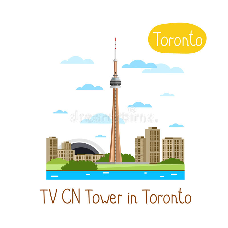 Landmarks concept. Travel the world. Vector. TV CN Tower in Toronto. Famous world landmarks icon concept. Journey around the world. Tourism and vacation theme stock illustration
