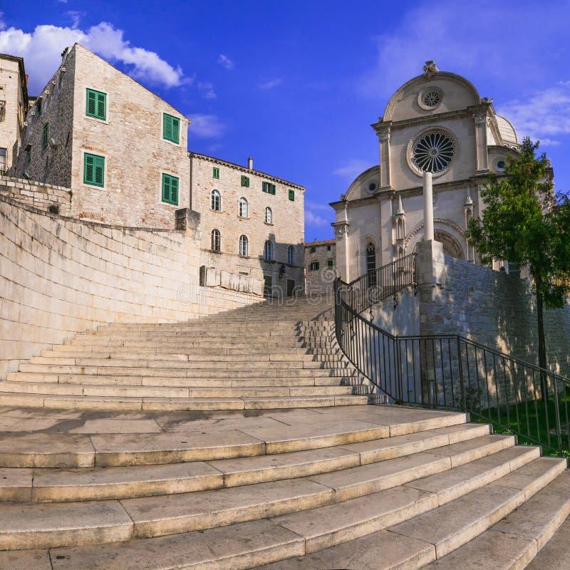 Landmarks of Croatia - famous cathedral of St James Sv Jakov in Sibenik royalty free stock photography