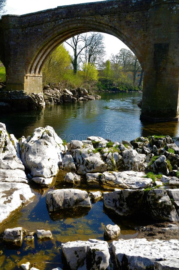 Landmarks of Cumbria - Kirkby Lonsdale. A view of the Devils bridge and River Lune in Kirkby Lonsdale in Cumbria royalty free stock image