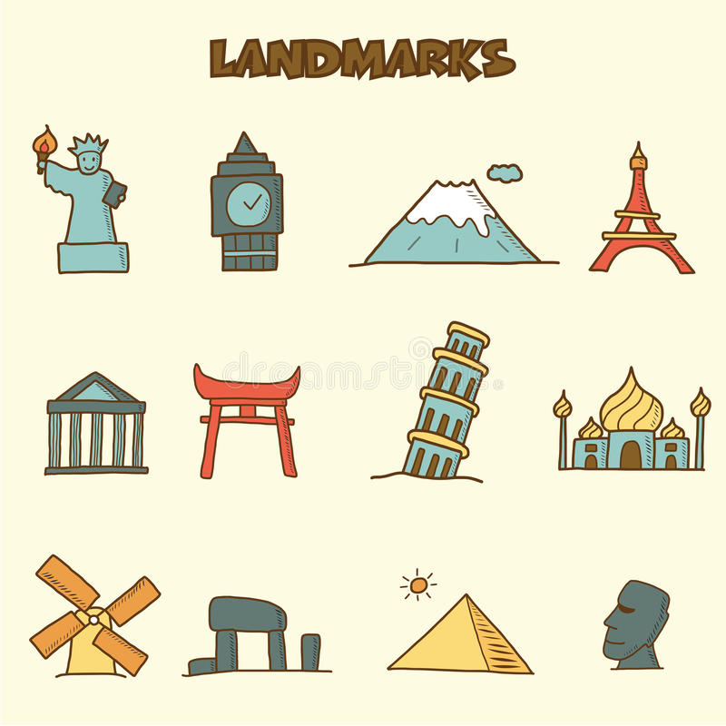 Download Landmarks doodle icons stock vector. Image of cartoon - 34265012