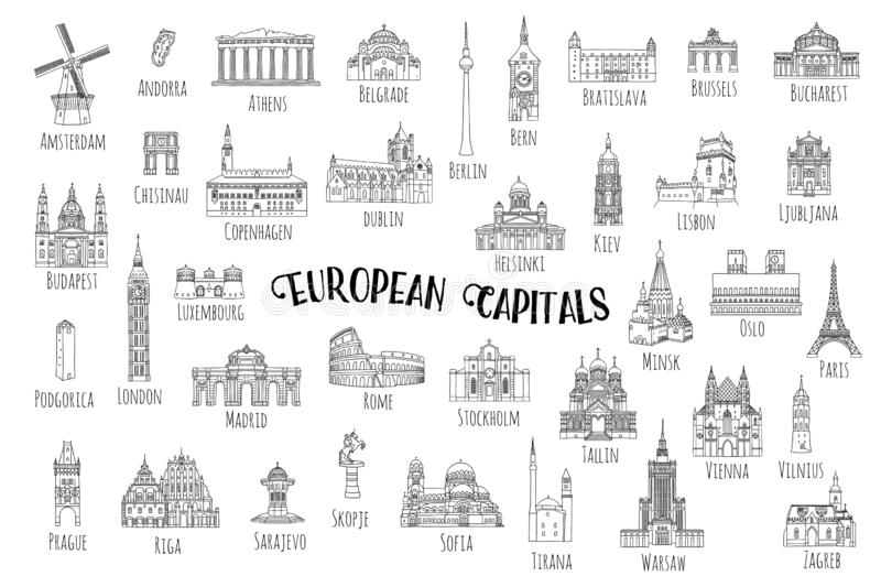 37 landmarks from European capitals. Set of 37 hand drawn landmarks from various European capitals, black ink illustrations stock illustration