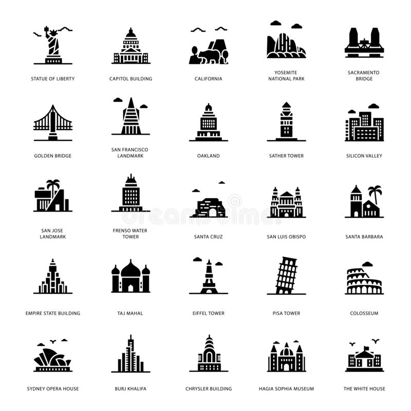 Landmarks Glyph Icons. Let`s take a glance at a pack of landmark glyph icons where you can find captivating and editable visual vectors. Garb and download it royalty free illustration
