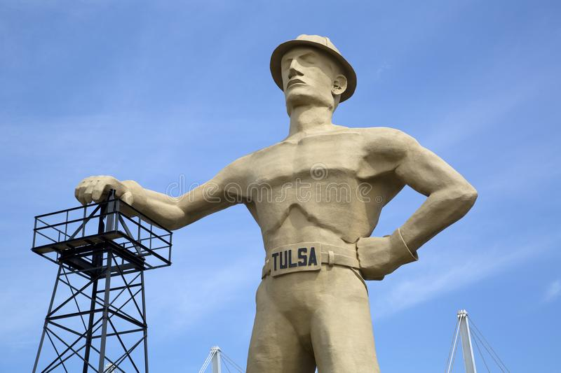 Gold driller ,landmarks of Tulsa Oklahoma USA. Landmarks gold driller in Tulsa Oklahoma state USA royalty free stock images