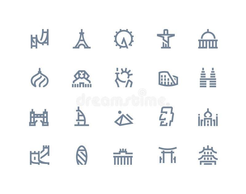 Landmarks icons. Line series vector illustration