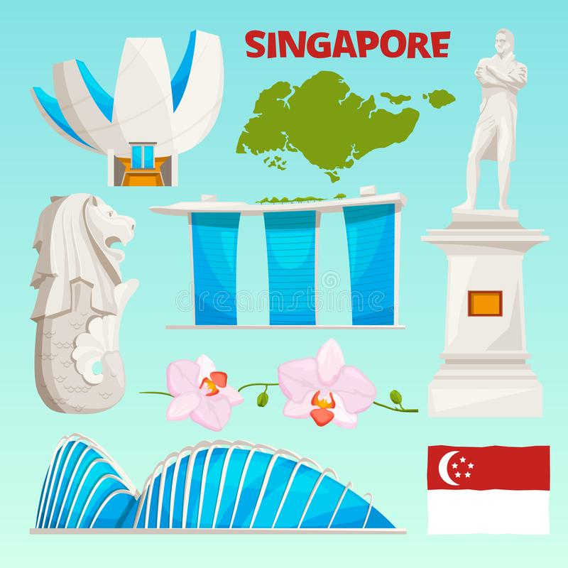Landmarks icons set of singapore. Cartoon cultural objects isolate on white royalty free illustration