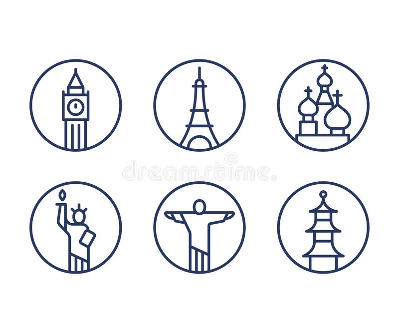 Landmarks icons set stock illustration