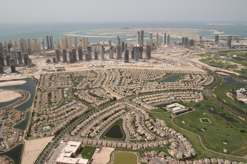 Landmarks Landscape. Huge Property Market In Dubai stock photography